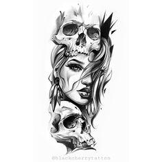 Forearm Band Tattoos, Forearm Tattoo Design, Skull Tattoo Design, Hand Tattoos, Lace Skull Tattoo, Skull Girl Tattoo, Girl Face Tattoo, Tattoo Design Drawings, Tattoo Sketches