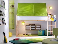 IKEA - A small kids' bedroom with plenty of space for both sleep and play, with a KLURA loft bed in solid pine and a green KURA bed tent. Kura Ikea, Ikea Kids, Big Girl Rooms, Boy Room, Bed Tent Ikea, Tent Canopy, Kid Beds, Kids Bedroom, Bedroom Loft