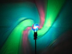 Hand-Painted Green/Blue/Purple Spiral Mood-Light Bulb 4 EASTER, Night Lights, Parties, Mood Lighting, Kid's Lamps, Color Therapy!