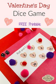 Valentine's Day Dice Game for Kids. Free, printable heart themed dice games. Practice counting and number identification. #kids #valentinesday #math #counting #dicegames #preschool #kindergarten Valentines Day Crafts For Preschoolers, Valentines Day Activities, Valentine Day Crafts, Toddler Learning Activities, Rainy Day Activities, Kids Learning Activities, Printable Activities For Kids, Dice Games, Valentine's Day Diy