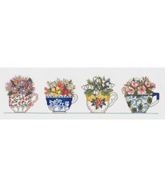 Janlynn Row Of Teacups Counted Cross Stitch Kit, , hi-res
