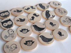 Waldorf-natürliche Holz Spielzeug - MATCH ME-Vögel-großes Kind Edition - Eco-Memory-Spiel