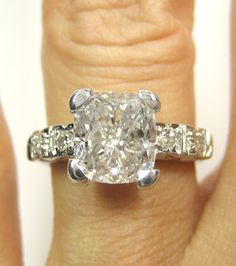 3.13CT VINTAGE ESTATE CUSHION DIAMOND ENGAGEMENT WEDDING RING PLATINUM EGL NR