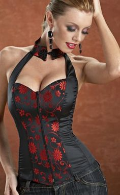 Alisa Collared Halter Corset with fromt zipper and lace up back.