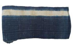 Hand-Blocked Indigo Batik, 7.1 Yds