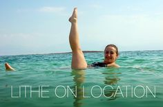 Rebecca has perfect form in her salty #litheonlocation leg lift at the Dead Sea!