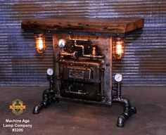 Steampunk Industrial / Antique Steam Gauge / Heine Boiler Company / St Barn Table, Wood Table, Table Lamp, Desk Lamp, Steampunk Table, Steampunk Furniture, Coffee Steam, Minnesota, Sewing Machine Tables