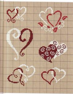 hearts and more x-stitch Wedding Cross Stitch, Cross Stitch Heart, Cross Stitch Borders, Cross Stitch Designs, Cross Stitching, Cross Stitch Patterns, Embroidery Hearts, Cross Stitch Embroidery, Embroidery Patterns