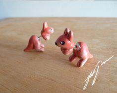 Kangaroo Earrings, cute sculpted, fake gauge, two part stud, jewelry by DeerandJackrabbit on Etsy