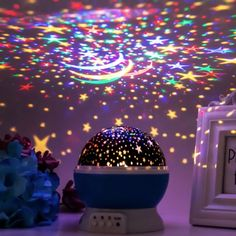 Starry Sky Night Light Sleep under the stars tonight. The Starry Sky Night Light is a cute LED lamp and rotary projector in one. Transform any room's ceiling and walls into a colorful star-filled sky. Bedroom Colors, Bedroom Decor, Wall Decor, Sea Theme Bedrooms, Night Skies, Sky Night, Starry Night Prom, Galaxy Room, Decorative Night Lights