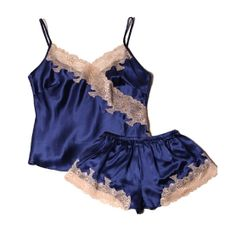 Freedomsilk Sexy Lace Trimmed Silk Cami And Shorts Set - Style: Silk Camisole Set Fabric: Pure and Natural Long Stranded 19 Momme Mulbbery Silk. Cute Sleepwear, Silk Sleepwear, Sleepwear Sets, Sleepwear Women, Pajamas Women, Lingerie Set, Women Lingerie, Ropa Interior Boxers, Cami Set