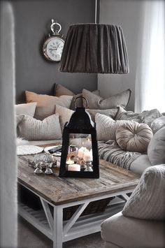 Would LOVE this feel for a smaller, cozy room! FILL it with cushions!!