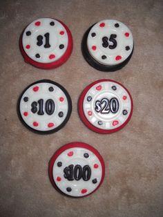1 chocolate oreo multi color poker casino chip game lollipops lollipop   sapphirechocolates - Edibles on ArtFire