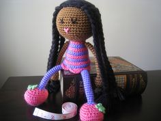 Crochet African American Plush Doll Black Braids Pink Purple Green Flower Stuffed Toy Baby Girl Gift, MADE TO ORDER (other colors available). $35.00, via Etsy.