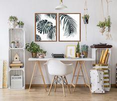 Conjunto com 2 quadros decorativos com moldura (folhas)