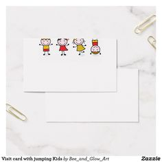Visit card with jumping Kids