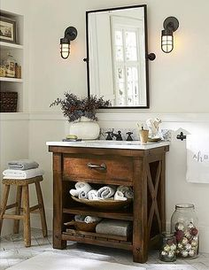 Pottery Barn – bathroom decor – rustic home interior Decor, Diy Bathroom, Home Decor, Rustic Bathroom Vanities, Luxury Bathroom, Bathrooms Remodel, Barn Bathroom, Bathroom Design, Bathroom Decor