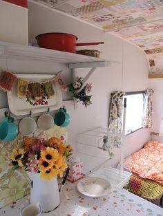 Decoupage camper ceiling.