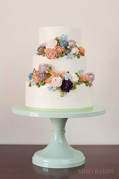 Tiered Cake With Buttercream Flowers by Miso Bakes | Erin Gardner | Craftsy