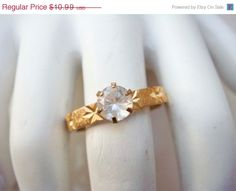 On Sale Vintage Gold Engagement Etched Ring by PaganCellarJewelry, $8.79