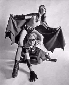 Funny Photo Shoot of Nico and Andy Warhol as Batman and Robin for Esquire Magazine, 1967