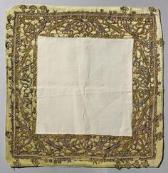 Title: Cloth Decorated with Coloured Lace Place of creation: Spain Date: 17th century Material: silk (ground), metal and silk threads and needlepoint lace Inventory Number: Т-7475