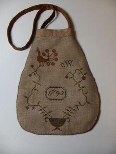 Primitive Cross Stitch Fancy Brown Sewing Pouch. $58.00, via Etsy.