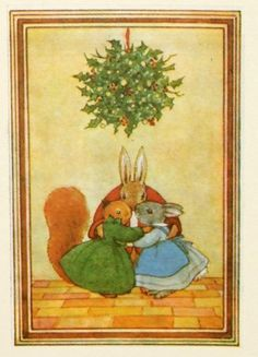 Christmas card. Made from a vintage Illustration. Christmas Kisses. Margaret Tempest...