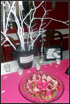 Love the bling hanging from the tree branches, and the pink dipped strawberries
