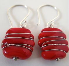 SALE  Red Earrings with Fine Silver Wire. by AussieJulesOnline, $25.00