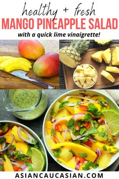 This summery Spicy Mango Pineapple Salad has fresh slices of ripe mangos and chunks of fresh pineapple, tossed together with sliced red onions, fresh mint and cilantro, and drizzled with a tangy, sweet and spicy lime vinaigrette. This is a super healthy spring or summer side dish or snack. So yum! Asian Side Dishes, Summer Side Dishes, Dinners To Make, Easy Meals, Healthy Asian Recipes, Pineapple Salad, Lime Vinaigrette, Fusion Food, Fresh Mint