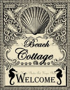 Vintage Beach Cottage Welcome 85x11 Image Transfer by HopePhotoArt, $1.25