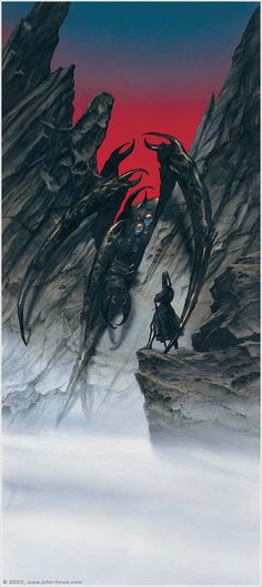 Melkor Calls Forth Ungoliantë. Ungoliant was a primordial being in the shape of a great spider. She is the mother of Shelob, and therefore the oldest, and first, of the Spiders of Mirkwood.  When Melkor was defeated and imprisoned, Ungoliant fled to a ravine south of the mountain Hyamentir, where she established her dark abode and sucked up all the light she could find.  When Melkor came to her, he offered her the light of the Two Trees if she would help him in his evil plans.