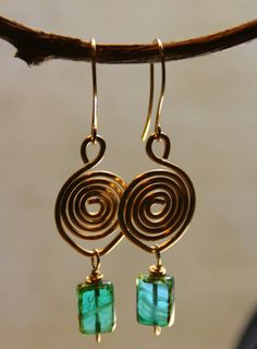 Labyrinth Style Hammered NuGold Swirls with Czech Glass Bead Dangles - Earrings