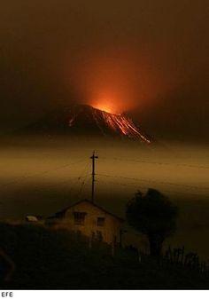 Volcan Tungurahua, #Ecuador, Ambato, Baños - actividad volcánica enero 2008
