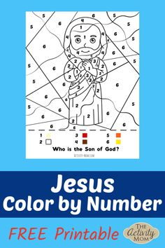 Jesus Color by Number for Kids. Free Printable for Sunday School or a rainy day. Printable Activities For Kids, Bible Activities, Kids Learning Activities, Preschool Printables, Printable Crafts, Holiday Activities, Preschool Activities, Free Printables, Christian Crafts