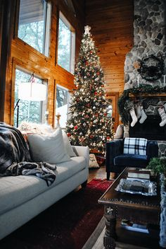 Brace Yourself: We Found The Most Dreamy Christmas Cabin - christmas - Winter Christmas Mood, Noel Christmas, Merry Little Christmas, All Things Christmas, Christmas Fireplace, Christmas Lights, Kirklands Christmas, Christmas Onsies, Fall Fireplace