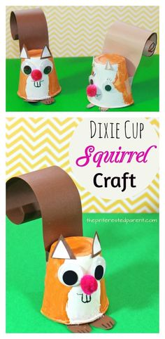 Dixie Cup Squirrel Craft - kid's arts and crafts for autumn / fall - paper animals #artsandcrafts
