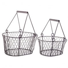 Clara Set Of Two Wire Design Handled Basket Garden Planters Garden Planters, Planter Pots, Garden Ornaments, Plastic Laundry Basket, Home Goods, Wire, Design, Home Decor, Decoration Home