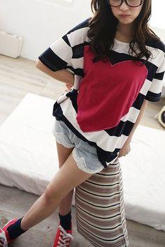 Red Heart Stripe T-shirt