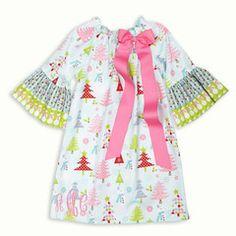fun and festive Light Blue Multi Christmas Tree Dot Charlotte Dress!