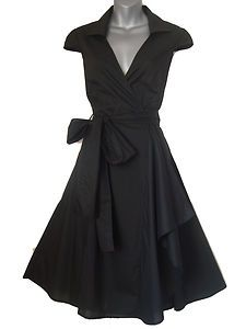 BLACK 1950S STYLE ROCKABILLY SWING PINUP WRAP EVENING PARTY DRESS SIZES 8 - 20 | eBay