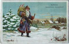 Vintage Hungarian Christmas card with Santa and rabbit - winter scene