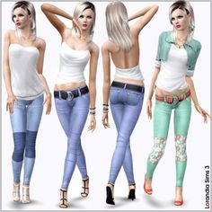 Block patchwork jeans with belt by Lore at Lorandia Sims3 - Sims 3 Finds