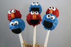 elmo and cookie monster cake pops Monster Cake Pops, Elmo And Cookie Monster, Birthday Party Decorations, Birthday Ideas, Birthday Cakes, 2nd Birthday, Sesame Street Cake, Elmo Cake, Elmo Party