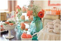 peach tinted mason jars   via becky smelser