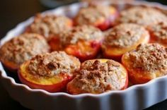 Desserts do not get any easier (or more delicious) than this simple recipe featuring fresh peaches. The tender fruit is stuffed with an amaretti cookie mixture then baked until the peaches are soft and the topping nicely browned. I used this de Candy Recipes, My Recipes, Cookie Recipes, Dessert Recipes, Favorite Recipes, Dessert Ideas, Desserts, Amaretti Cookie Recipe, Amaretti Cookies
