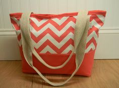 Large Heavyweight Coral Chevron Zipper Topped by PopOfColorPillows, $52.00