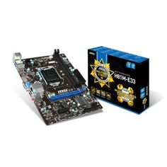 MSI H81M-E33  Supports 4th Gen Intel® Core™ / Pentium® / Celeron® processors for LGA 1150 socket Supports DDR3-1600 Memory USB 3.0 + SATA 6Gb/s Military Class 4: Top Quality & Stability Military Class Essentials: Total Protection for Military Class Motherboards OC Genie 4: Overclock in 1 Second Click BIOS 4: Easily Fine-tune Your System 4K UHD Support: Ultra-high Definition Visual Experience Command Center: Control & Customize Your PC Settings