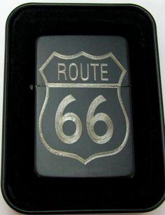 Route 66 Highway Engraved Black Cigarette Lighter Tin Case LEN-0168